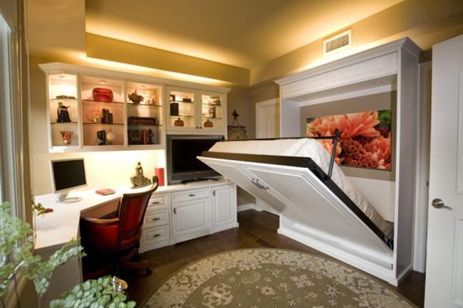 Ideias para espaços pequenos - cama embutida no armário