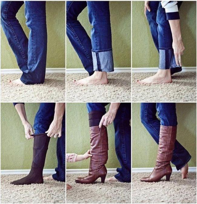 10 truques geniais para a sua roupa e calçado - usar calças de ganga por dentro das botas