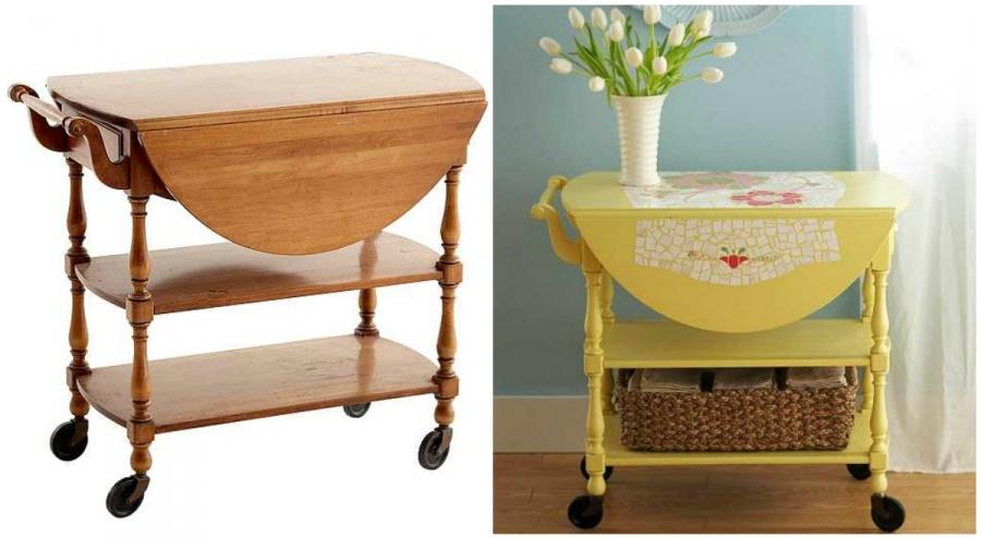 """Ideias Para Renovar os Seus Móveis Antigos - antiga mesa de rodas transforma-se numa mesa de cabeceira """"chic"""""""