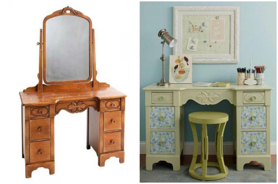 Ideias Para Renovar os Seus Móveis Antigos - um toucador pode ser um cómodo escritório com um par de modificações simples.