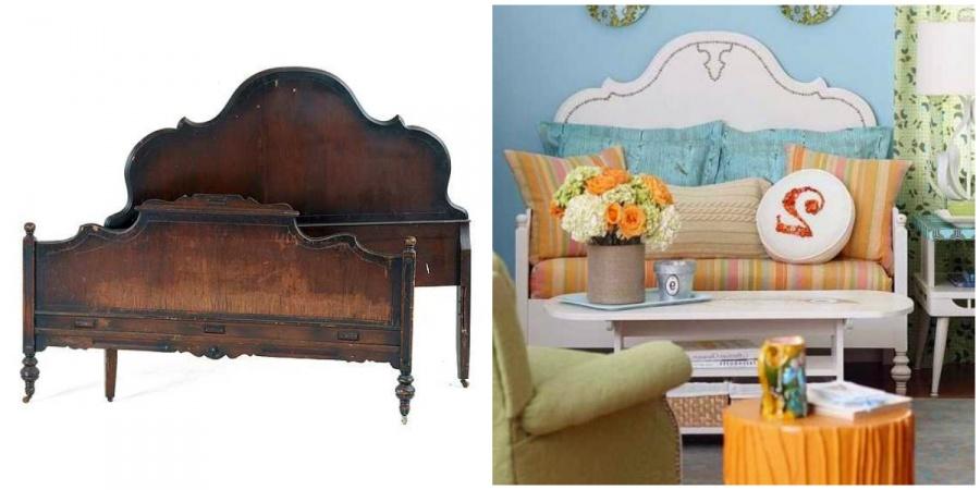 Ideias Para Renovar os Seus Móveis Antigos - a cabeceira e os pés de uma cama sem uso podem ser a base perfeita para um sofá pequeno.