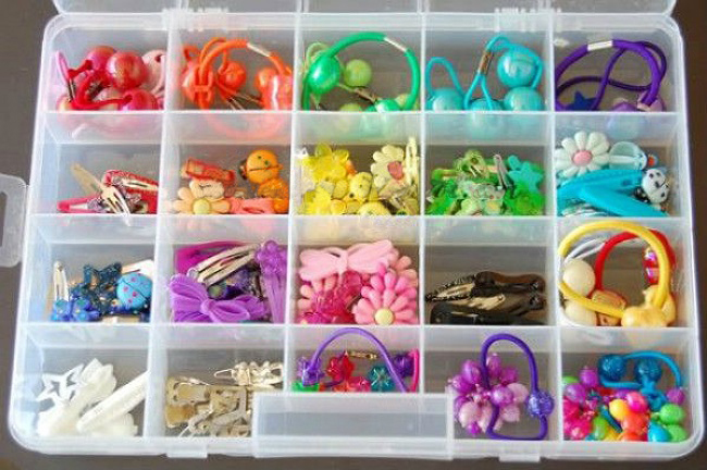 Dicas para nunca mais perder nada - caixa de elásticos para guardar ganchos e elásticos de cabelo