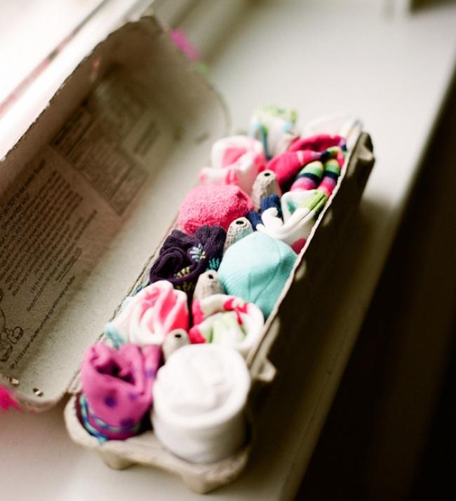 Dicas para nunca mais perder nada - caixa de ovos para guardar meias e peúgas