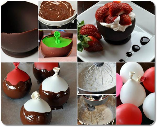 Truques de cozinha - taças de chocolate feitas com balões