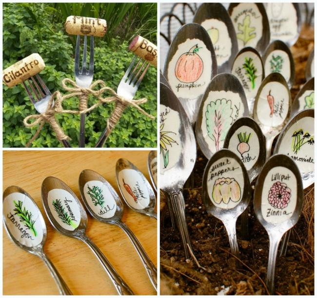 Dar vida nova a velhos utensílios de cozinha - transformar colheres em marcadores de vegetais plantados