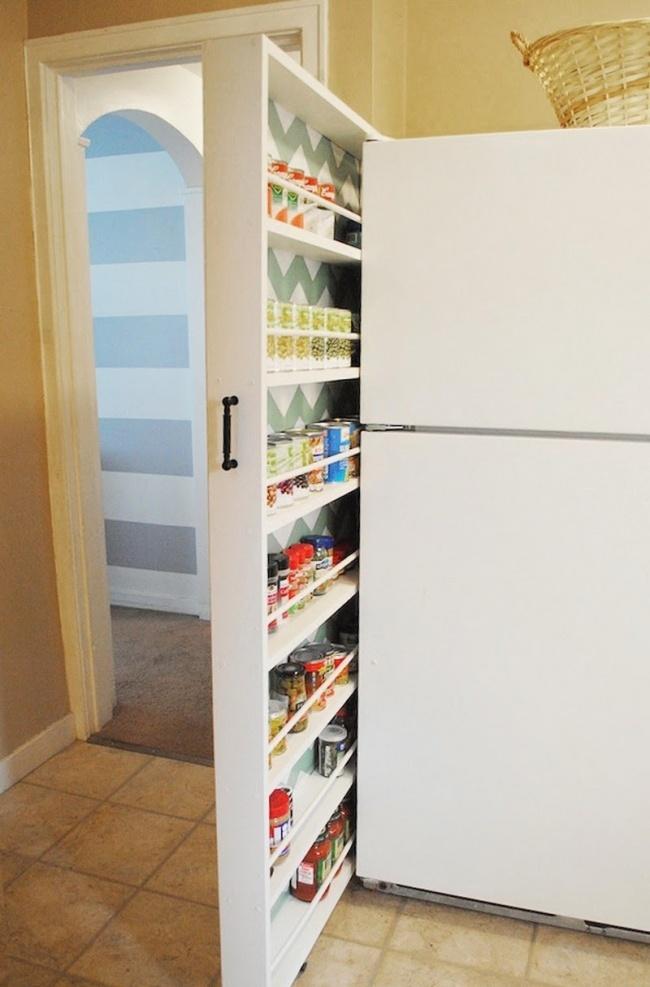 Ideias criativas para arrumações - espaço ao lado do frigorífico