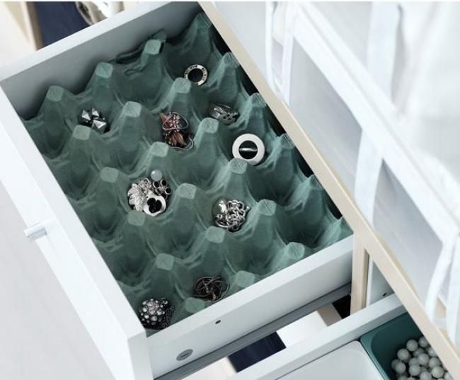 Ideias criativas para arrumações - caixas de ovos para guardar bijuterias