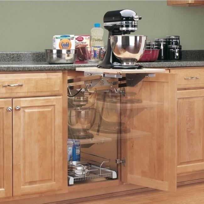 Ideias criativas para arrumações - prateleiras extensíveis na cozinha