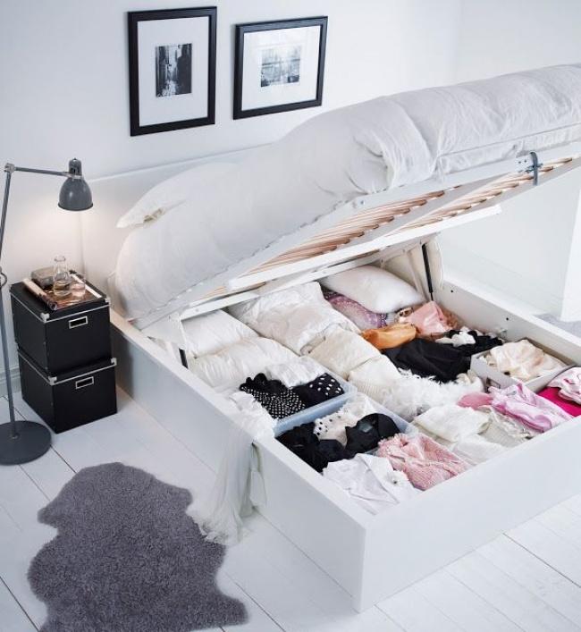 Ideias criativas para arrumações - espaço de arrumação debaixo da cama
