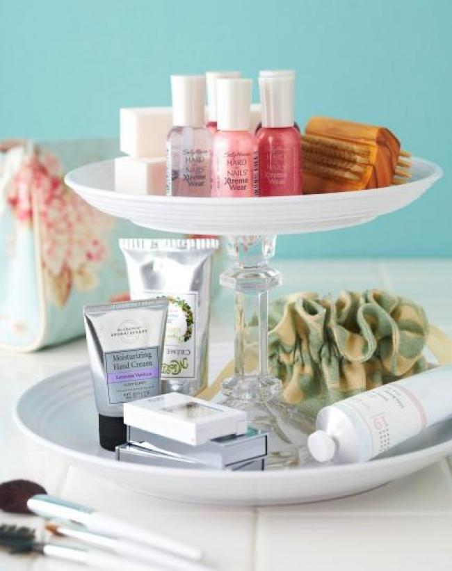 Ideias criativas para arrumações - fruteira para guardar objectos de cosmética