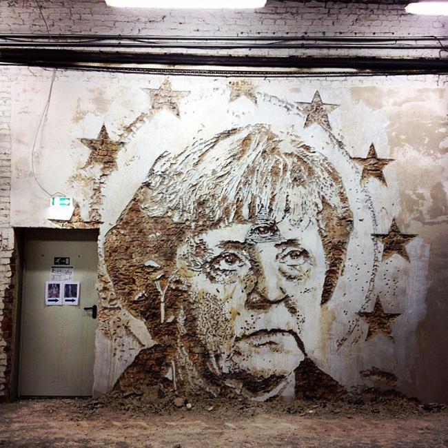 As maravilhosas obras de arte urbana de Vhils, um artista português - Angela Merckel