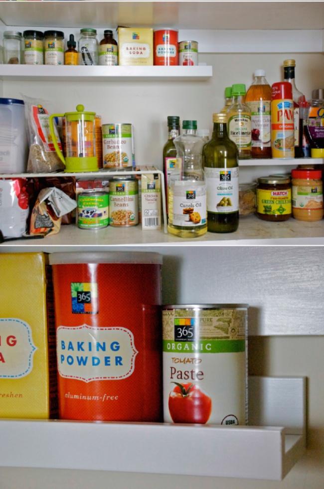 Ideias criativas para arrumações - prateleiras adicionais nos armários da cozinha