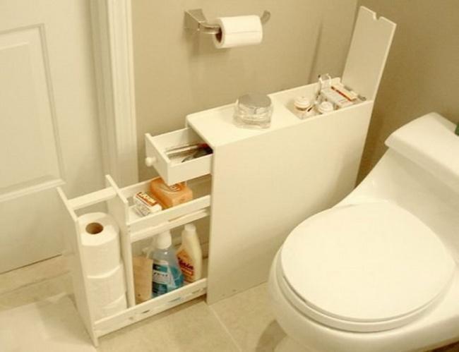 Ideias criativas para arrumações - armário estreito de casa de banho