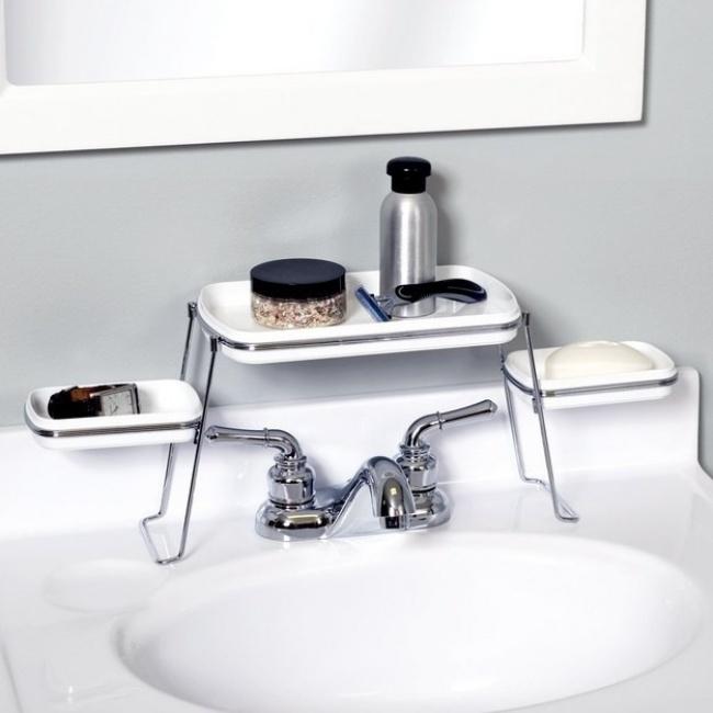 Ideias criativas para arrumações - pequena prateleira de lavatório