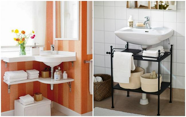 Ideias para dar uma vida nova à sua casa de banho - estante debaixo do lavatório