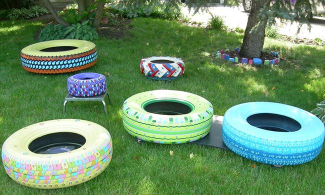Como fazer bancos de jardim com pneus