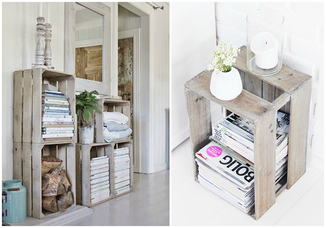 13 ideias fantásticas para organizar os seus livros - estante feita de caixas de madeira
