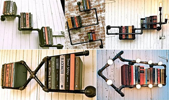 13 ideias fantásticas para organizar os seus livros - estante de tubos industriais