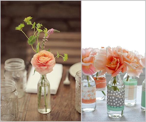 Artesanato com garrafas de vidro que servem de jarras de flores