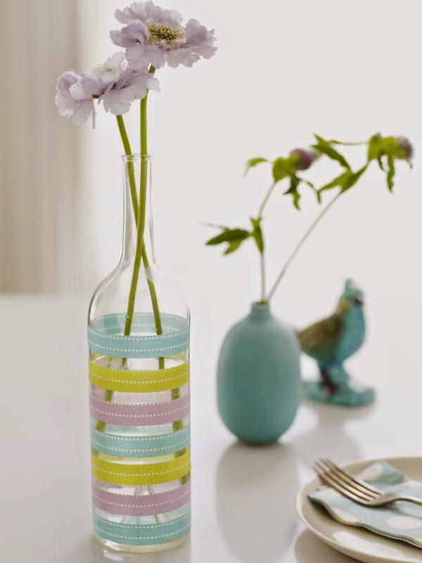 Garrafa de vidro recicladas em solitários para flores