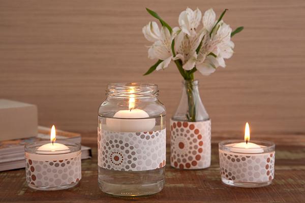 Reciclar frascos de vidro em porta velas