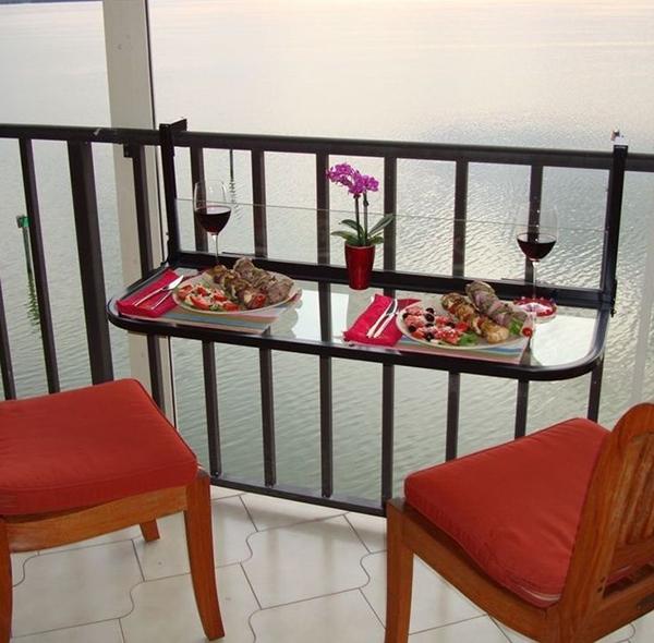 Ideias para varandas de todos os tamanhos  - mesa de refeições suspensa