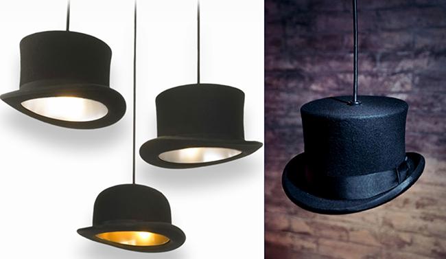 Reciclar e decorar -um candeeiro feito de chapéus antigos