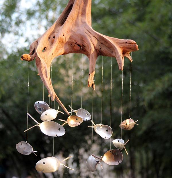 Espanta espíritos lindos que pode fazer em sua casa - feito de raiz de árvore