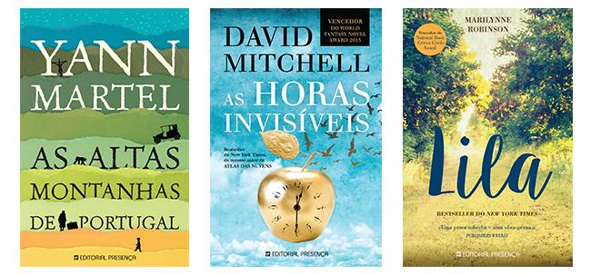 """Capa dos livros  """"As Altas Montanhas de Portugal"""", """"As Horas Invisíveise"""" e """"Lila"""