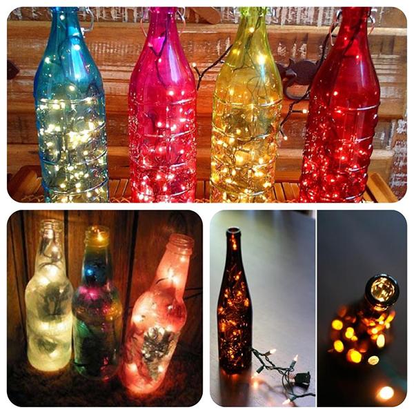 Garrafas decoradas com luzes de Natal