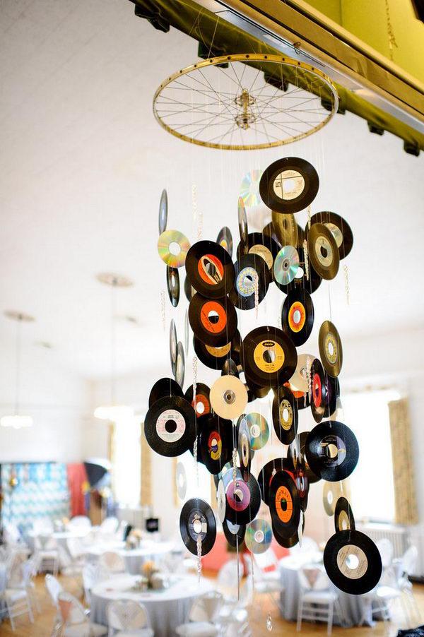 Espanta espíritos lindos que pode fazer em sua casa - feito com discos de vinil