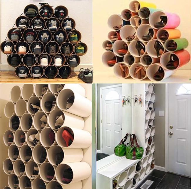 Ideias para organizar os seus sapatos - tubos em cartão ou PVC