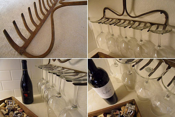 Estilo rústico - ancinho porta-copos e porta-garrafas