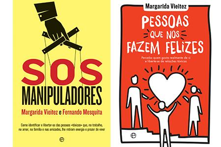 """Capa dos livros Sobre """"Pessoas que nos fazem felizes"""" e """"SOS Manipuladores"""" de Margarida Vieitez"""