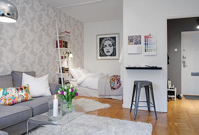 Soluções geniais para estúdios e casas pequenas - encoste a cama a uma parede