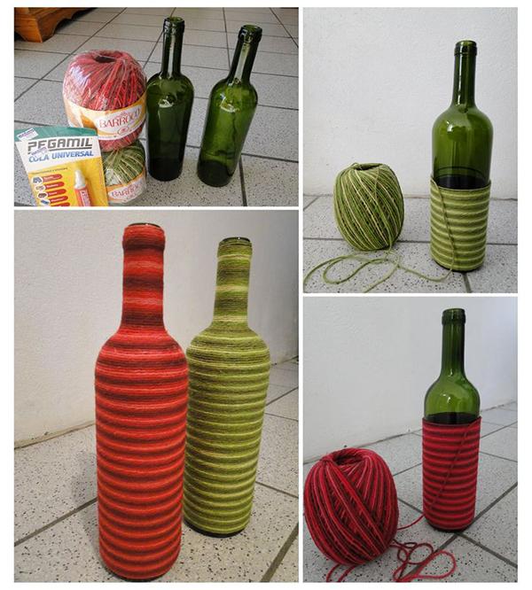 Artesanato com garrafas de vidro decoradas com sisal ou lã