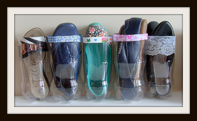 Ideias para organizar os seus sapatos - garrafas de plástico