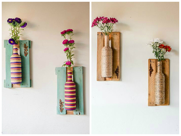 6 garrafas decoradas com fio de lã ou sisa