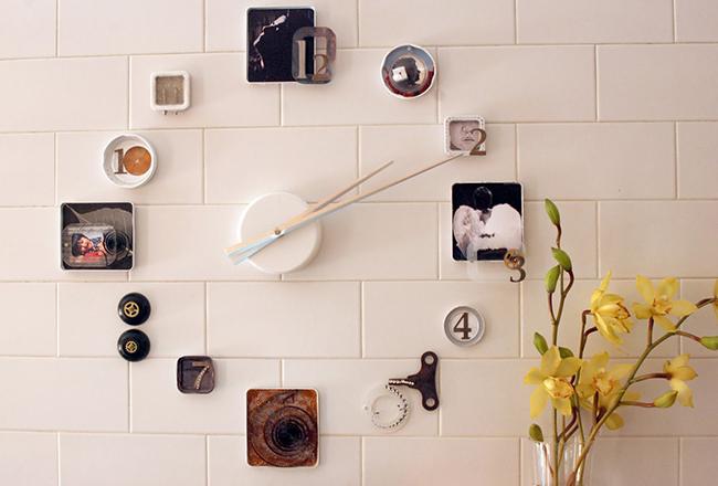 Reciclar e decorar - um relógio de parede feito com bibelôs antigos