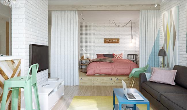 Soluções geniais para estúdios e casas pequenas - cor e texturas em apontamentos de decoração