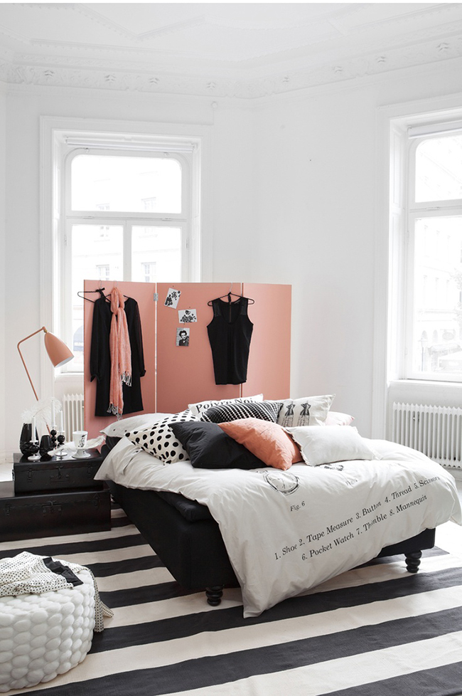 Os biombos e as 1001 maneiras de os usar - biombo atrás da cama