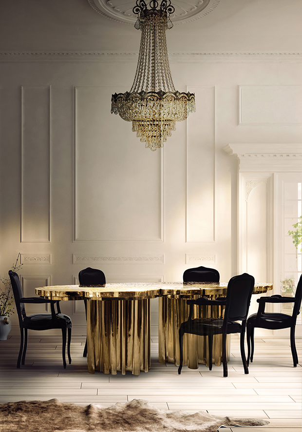 As mesas de casa de jantar podem também ser objectos de luxo