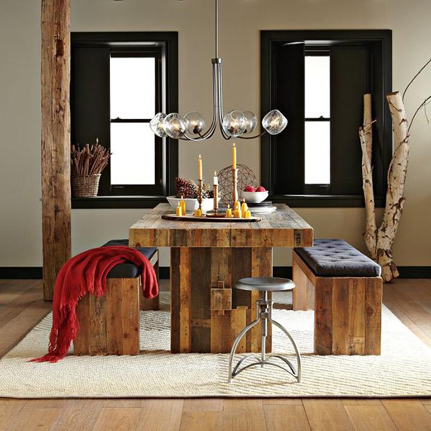 Mesas de jantar rústicas podem ser muito elegantes, como esta
