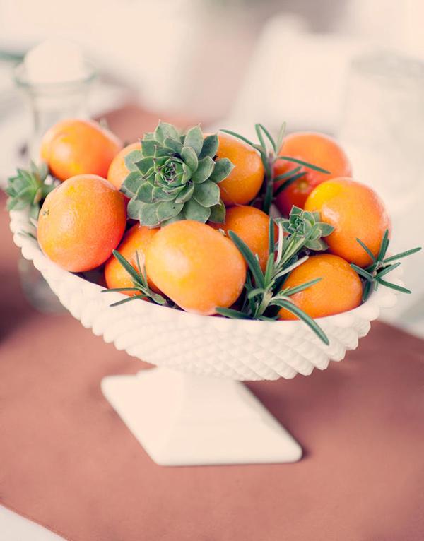 Centros de mesa feitos com frutas
