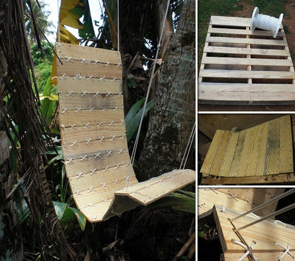 Baloiços e cadeiras - baloiço feito com paletes de madeira