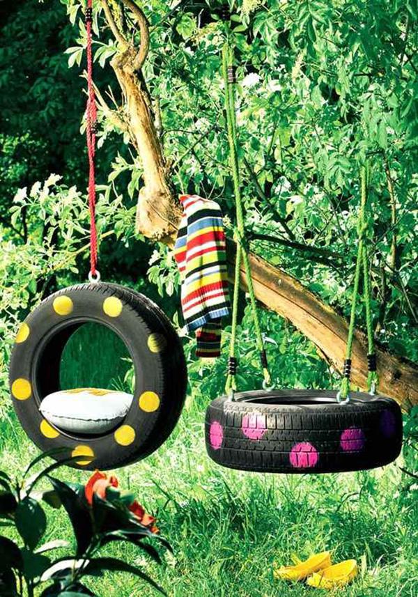 Baloiços e cadeiras - baloiço minimalista feito de pneus- Baloiço de pneu