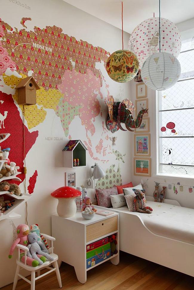Quartos de criança - planisférios, mapas ou globos