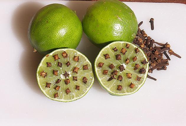 Truques para afastar as melgas - Limão com cabeças de cravinho
