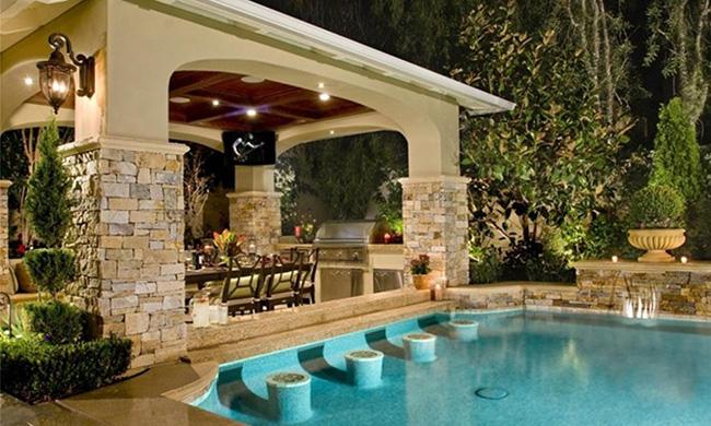 Piscinas de sonho - piscina com bancos dentro de água
