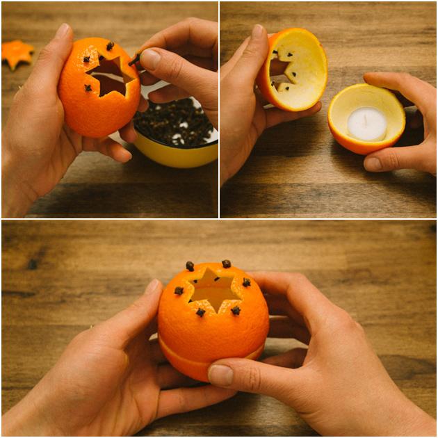 Truques para afastar as melgas - vela de laranja